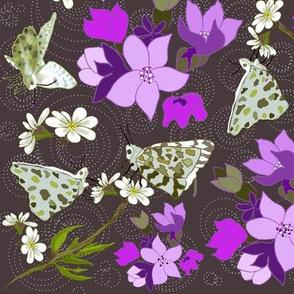 Fluttering butterflies and fushia petals