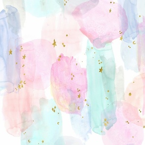 Rainbow and stars watercolor