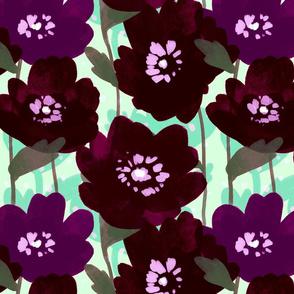 Dark Poppies on Mint