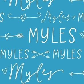 Personalized Name Hearts and Arrows - Blue - Myles