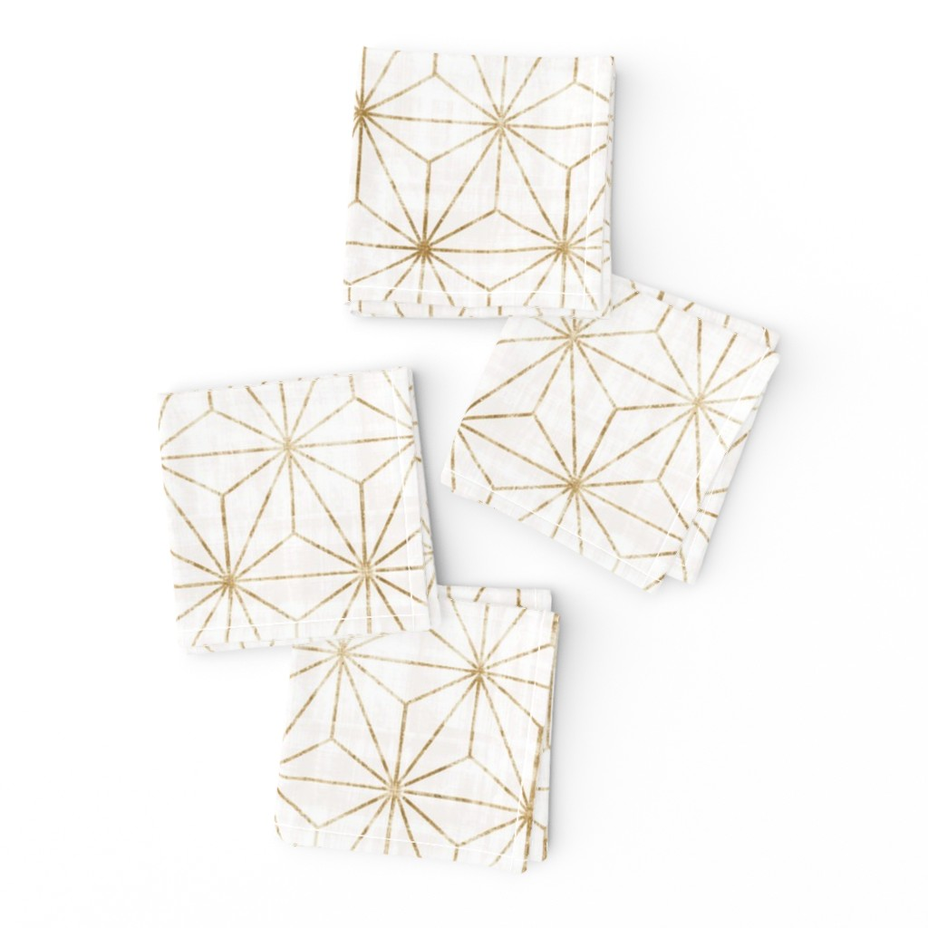 Frizzle Cocktail Napkins featuring Star Geo White + gold by crystal_walen