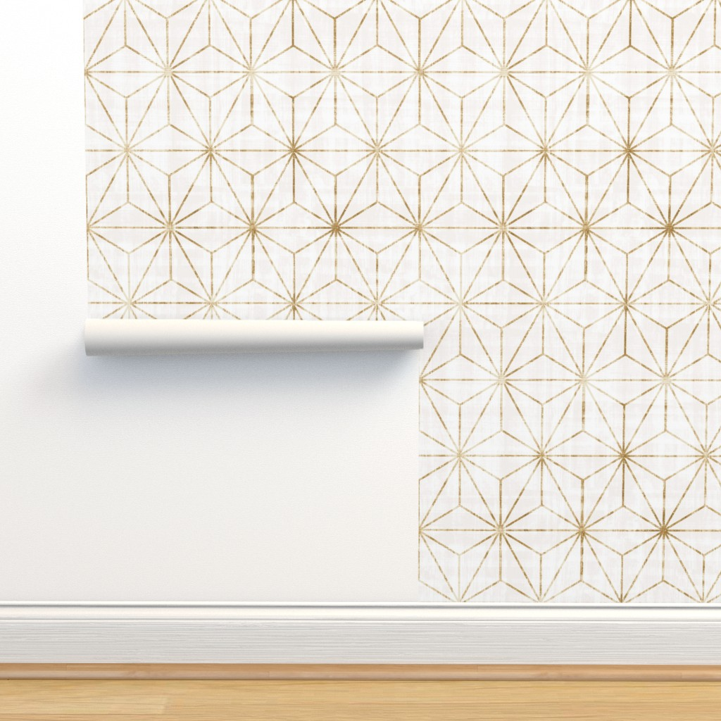 Isobar Durable Wallpaper featuring Star Geo White + gold by crystal_walen