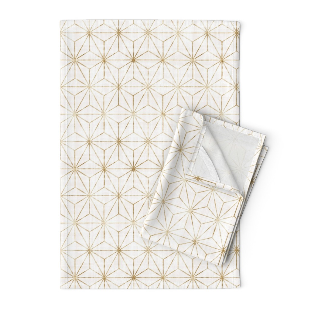 Orpington Tea Towels featuring Star Geo White + gold by crystal_walen