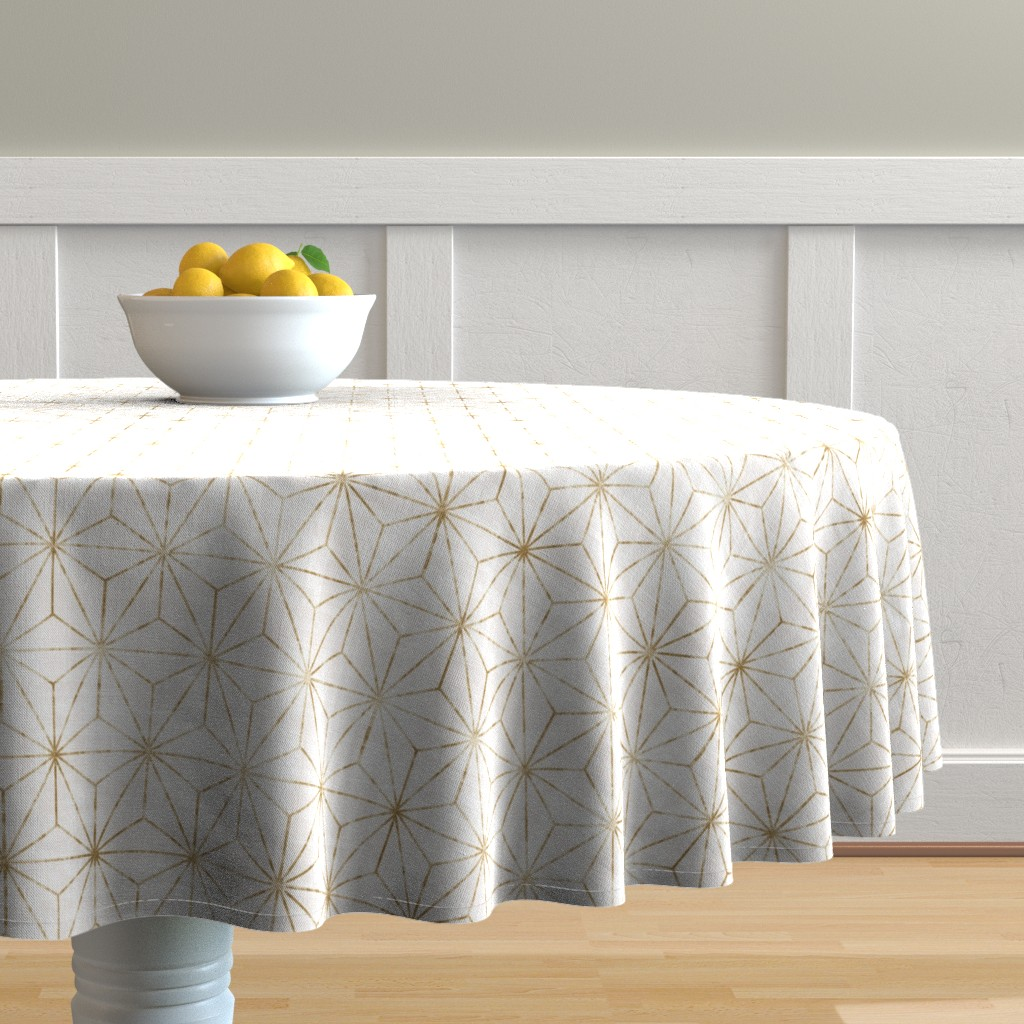 Malay Round Tablecloth featuring Star Geo White + gold by crystal_walen