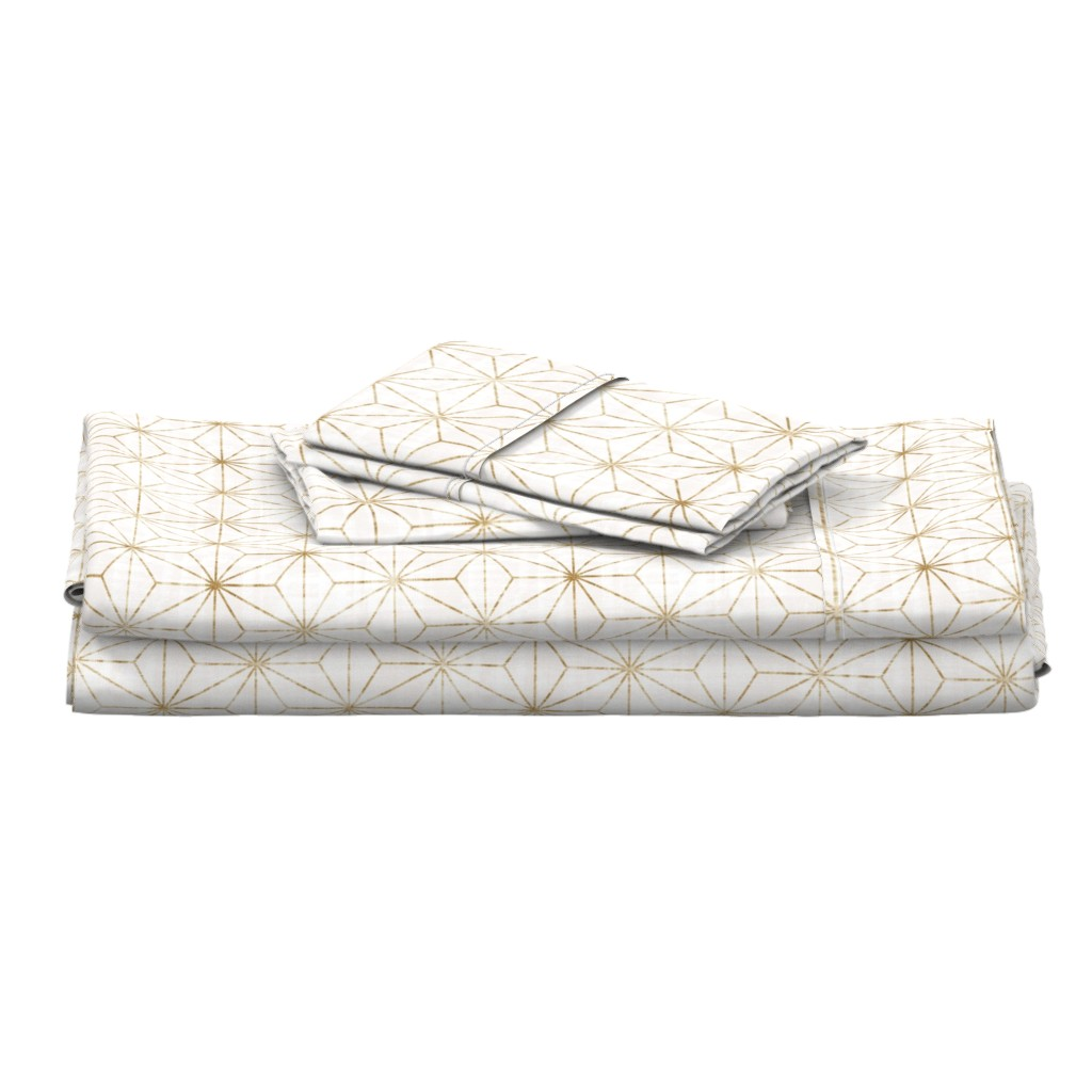 Langshan Full Bed Set featuring Star Geo White + gold by crystal_walen