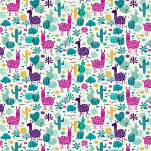 Llamas in the desert turquoise/purple (mini)