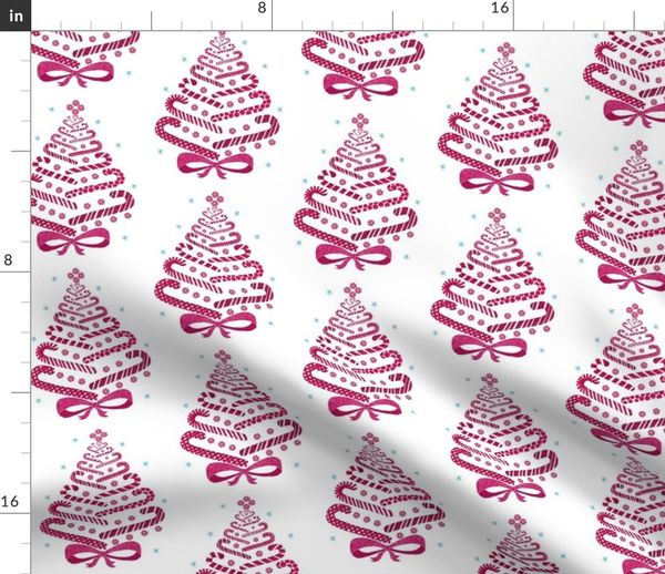 Candy Cane Christmas Tree.Fabric By The Yard Candycane Xmas Tree On White