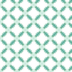 Starry Squares Pattern  Lt Teal White