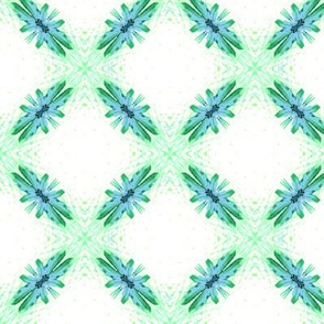 Starry Squares Diagonal Pattern Green White