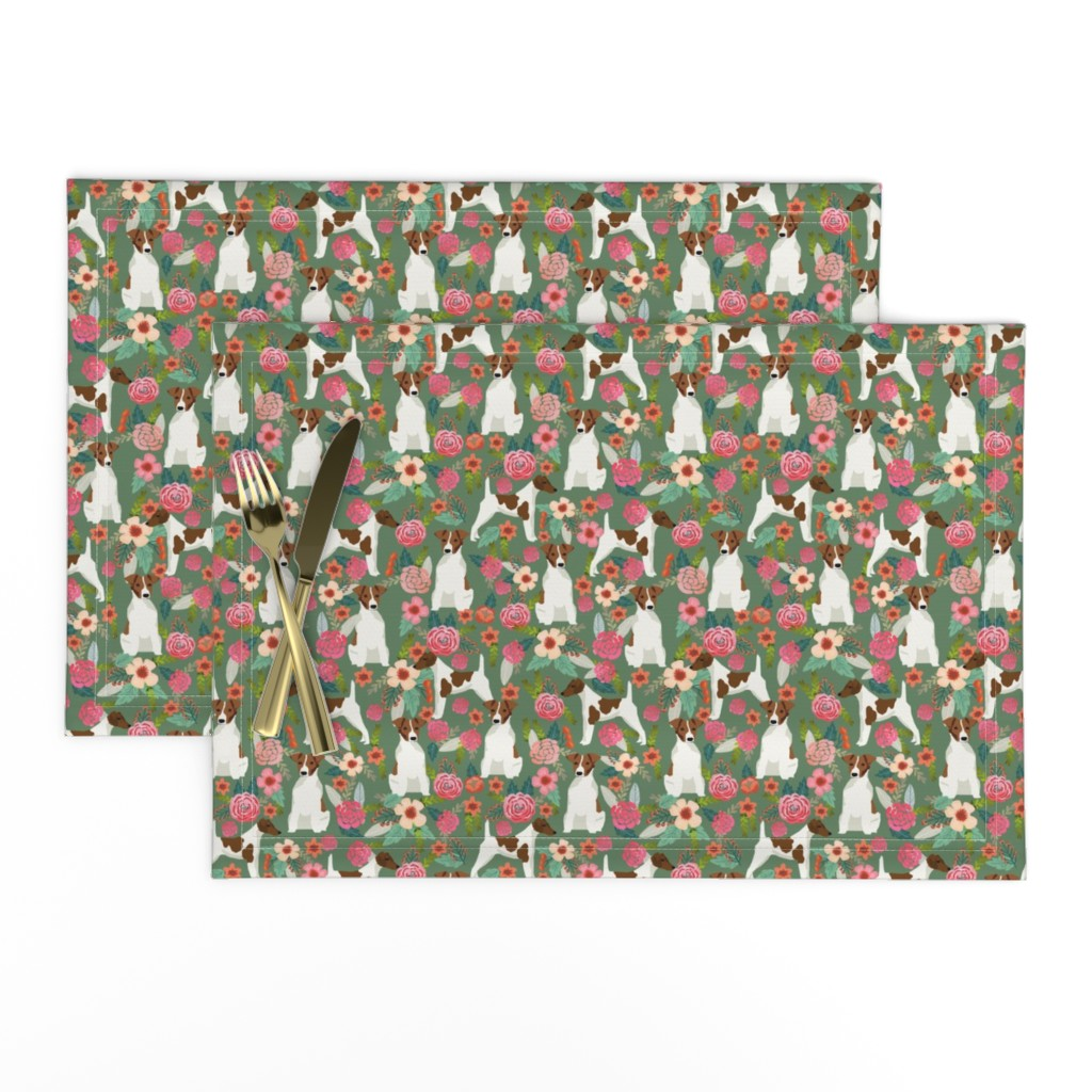 Lamona Cloth Placemats featuring smooth fox terrier floral flowers dog breed fabric green by petfriendly