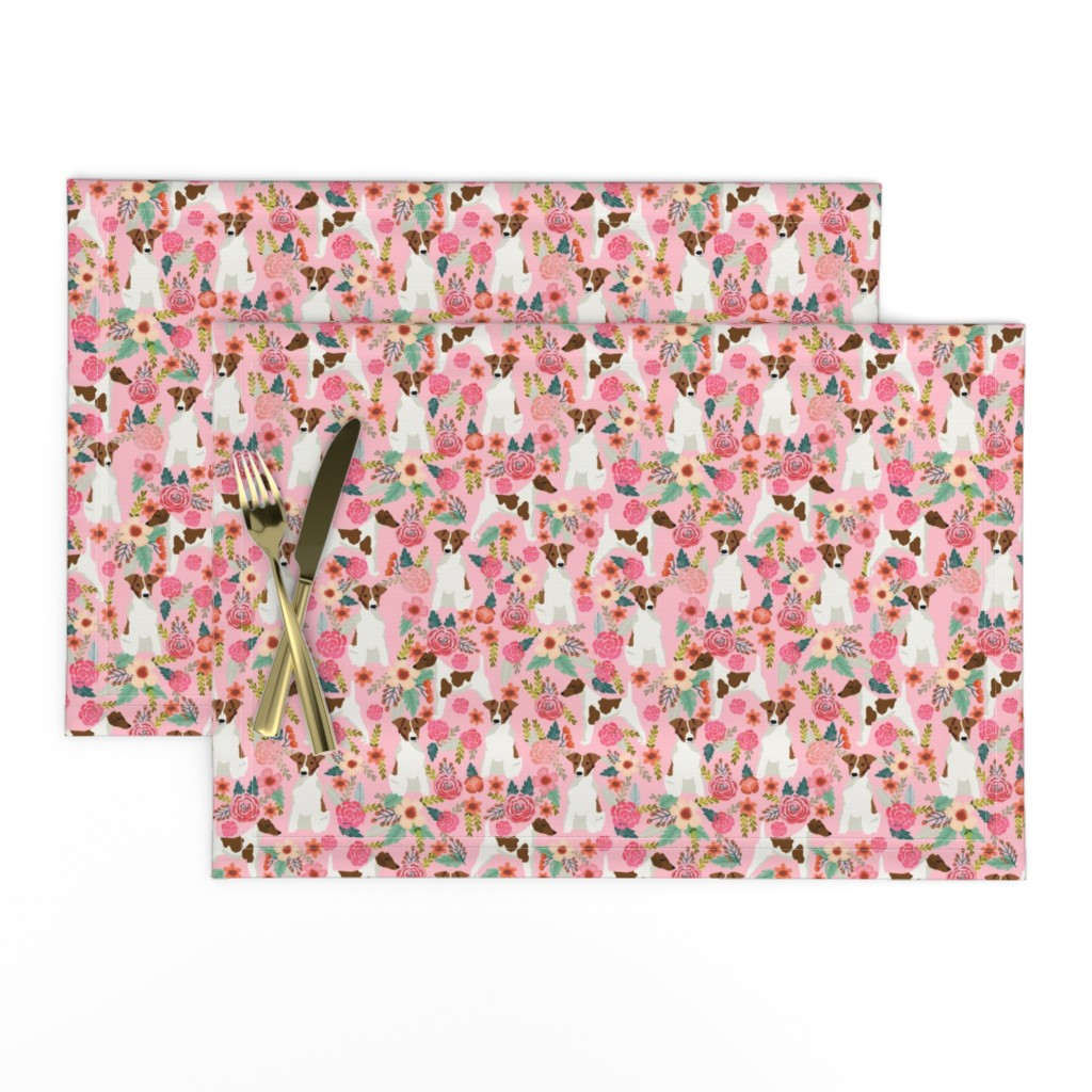 Lamona Cloth Placemats featuring smooth fox terrier floral flowers dog breed fabric pink by petfriendly