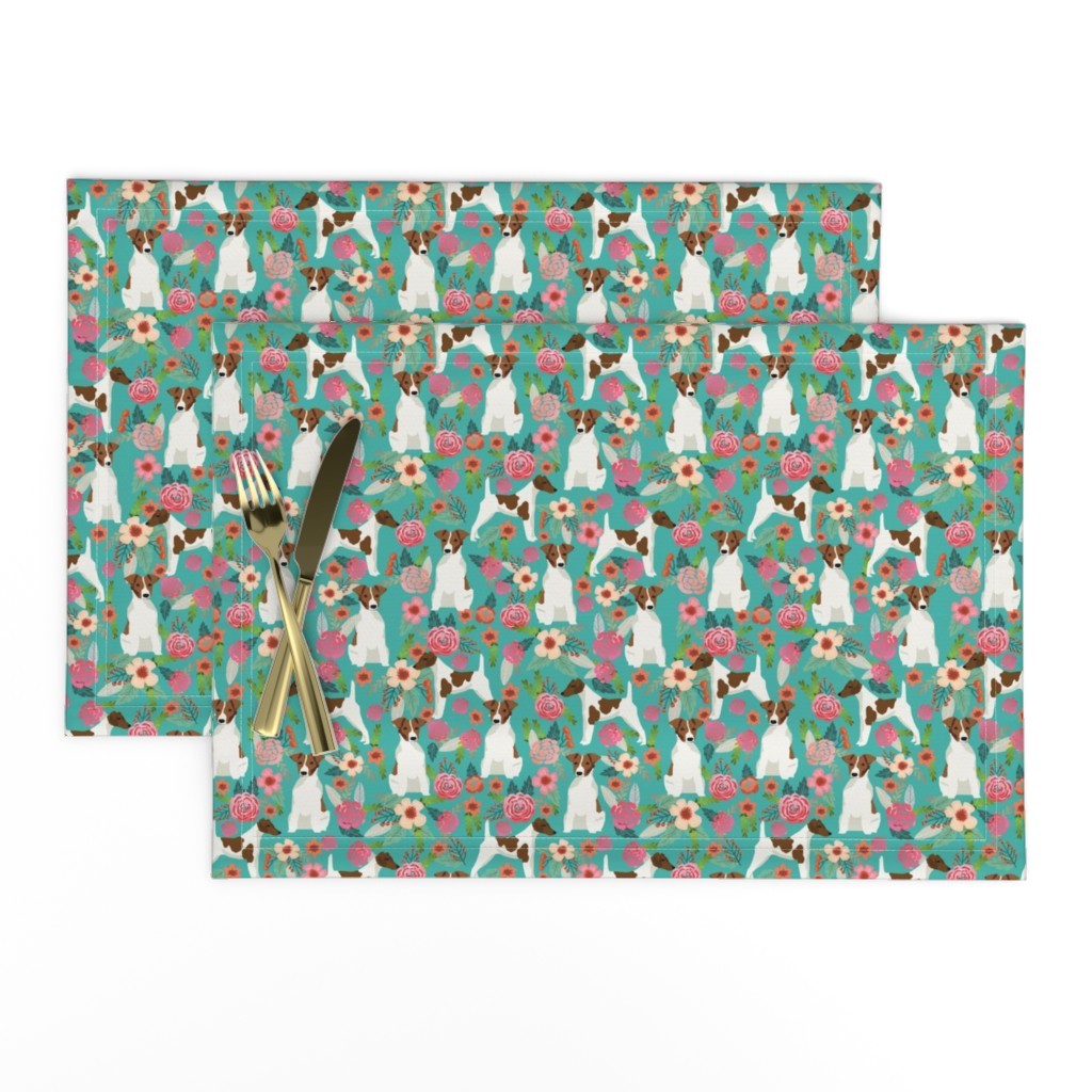 Lamona Cloth Placemats featuring smooth fox terrier floral flowers dog breed fabric turquoise by petfriendly
