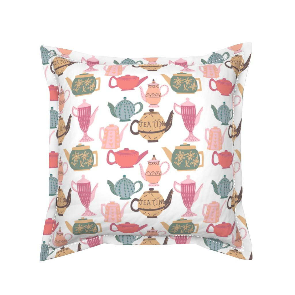 Serama Throw Pillow featuring Vintage Multi Teapots for Tea Time in White by paper_and_frill