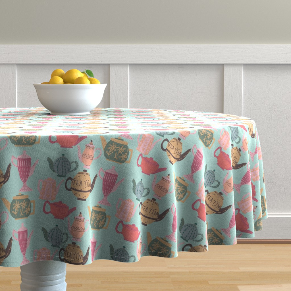 Malay Round Tablecloth featuring Vintage Teapots for Tea Time on Blue by paper_and_frill