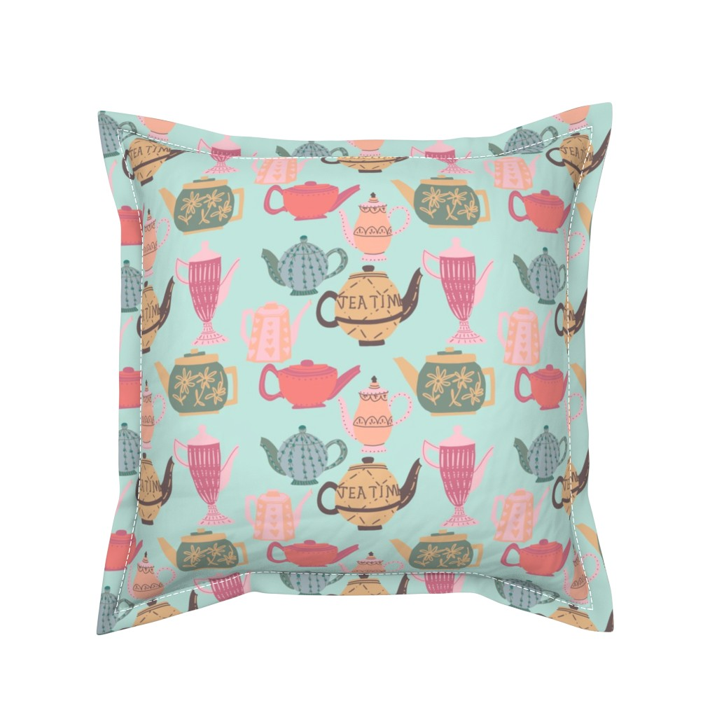 Serama Throw Pillow featuring Vintage Teapots for Tea Time on Blue by paper_and_frill