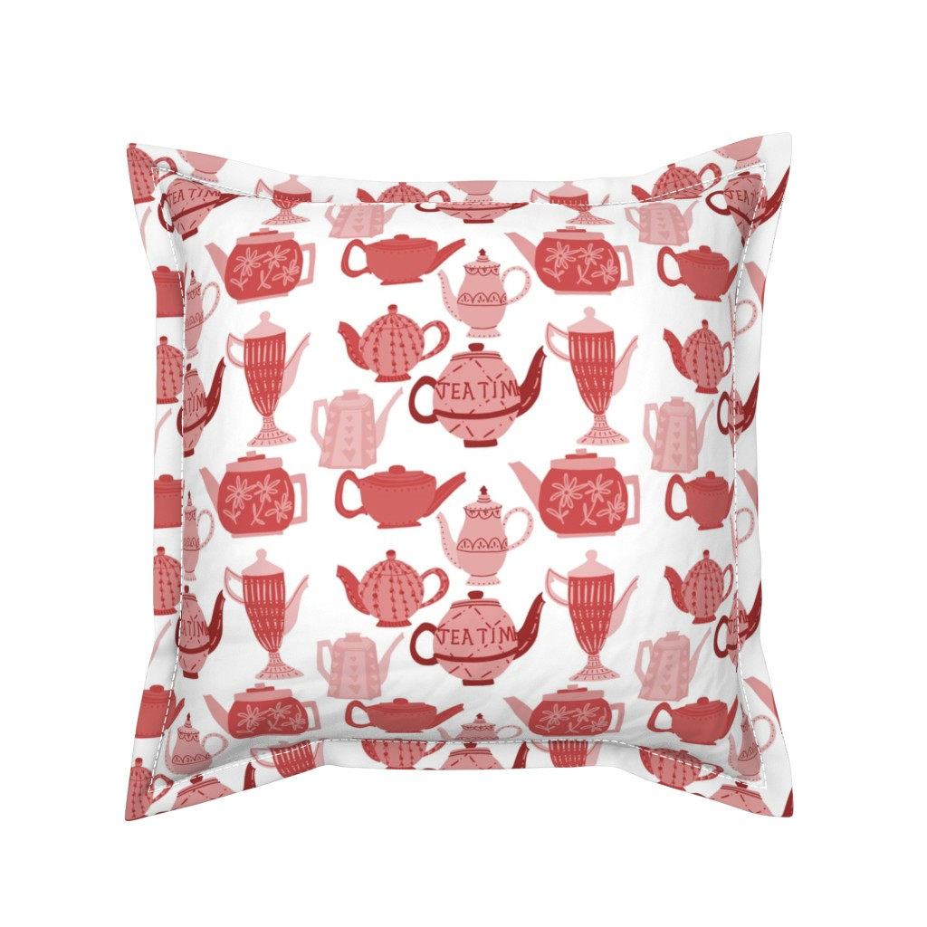 Serama Throw Pillow featuring Vintage China Teapots for Tea Time in Pink and Red by paper_and_frill