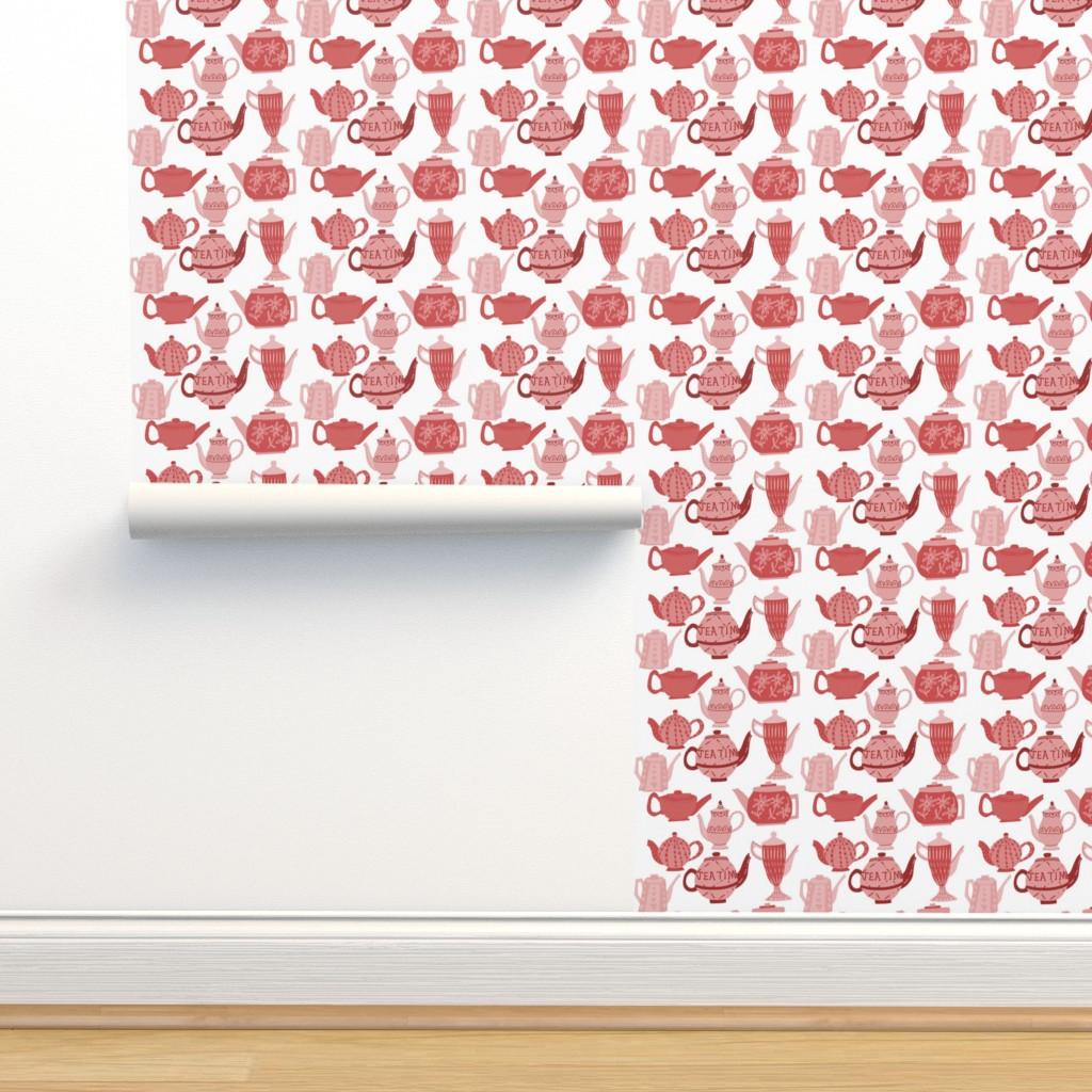 Isobar Durable Wallpaper featuring Vintage China Teapots for Tea Time in Pink and Red by paper_and_frill