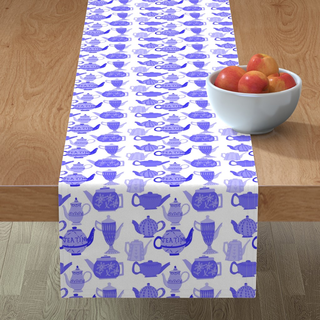 Minorca Table Runner featuring Vintage Teapots for Tea Time in Shades ofBlue by paper_and_frill