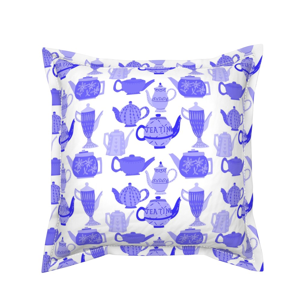 Serama Throw Pillow featuring Vintage Teapots for Tea Time in Shades ofBlue by paper_and_frill