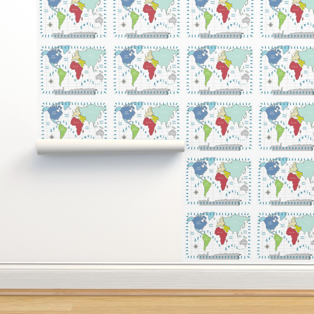Isobar Durable Wallpaper featuring Map world Adventures 84 - Continent red by drapestudio