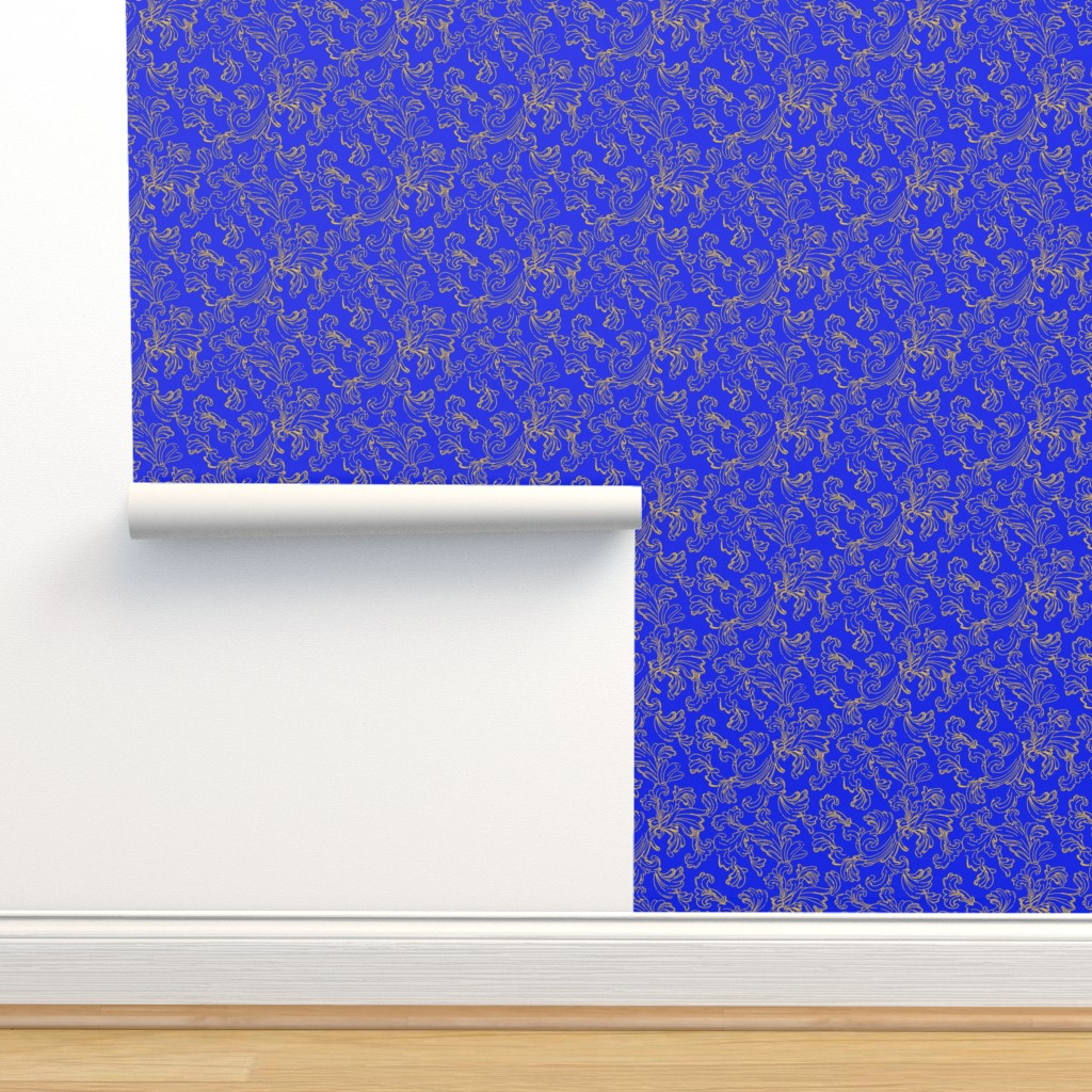 Isobar Durable Wallpaper featuring  Gold Scroll on Blue by ileneavery
