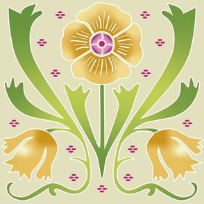 golden Art Nouveau flowers