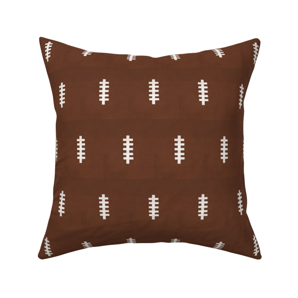 Catalan Throw Pillow featuring football  brown- vintage 3MED by drapestudio