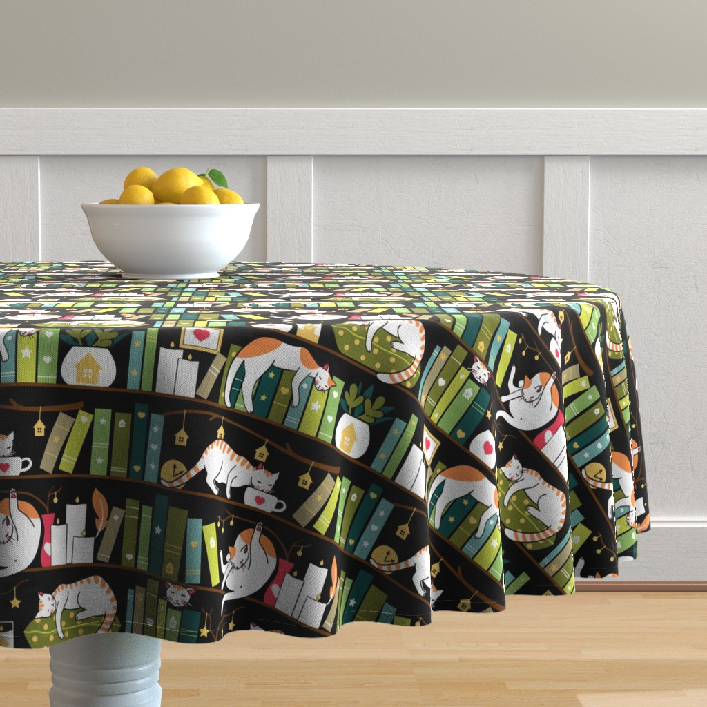 Malay Round Tablecloth featuring Library cats by elena_naylor