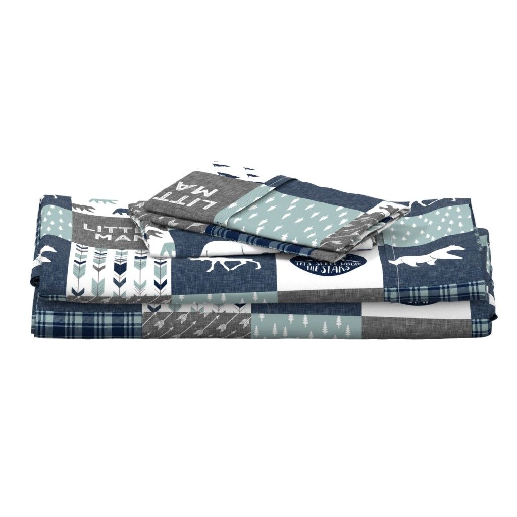 Langshan Full Bed Set featuring Happy Camper / Little Man - bear and moose - navy and dusty blue (90) by littlearrowdesign