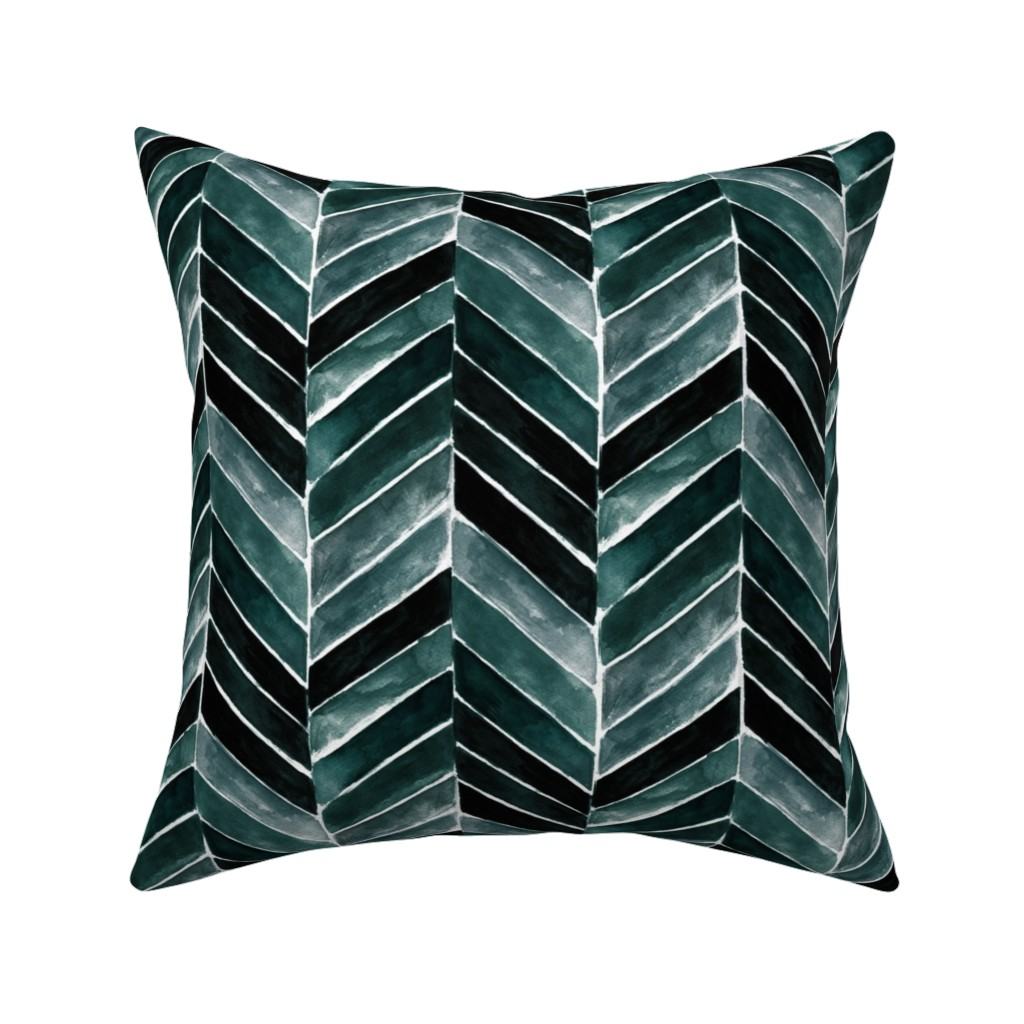 Catalan Throw Pillow featuring chevron painted deep blue green by crystal_walen