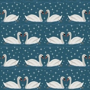 Swans // white swans with retro sparkles