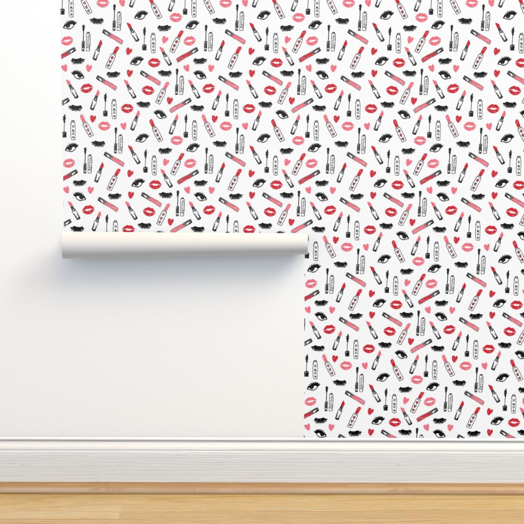 Isobar Durable Wallpaper featuring makeup lipstick eyelashes beauty fabric valentines day white pink  by charlottewinter