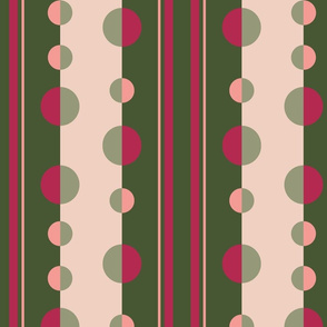 Modern Stripes and Circles in Olive Green