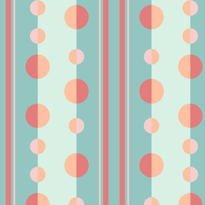 Modern Circles and Stripes in Mint, Pink and Peach