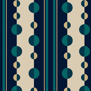 Modern Stripes and Circles in Teal, Navy and Tan