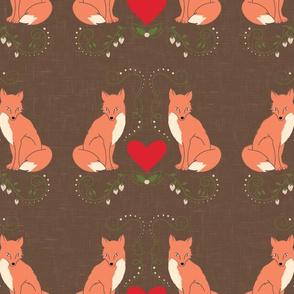 Fox & Heart Floral Print - Brown