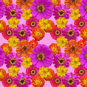 Colorful floral print on pink
