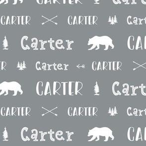 Woodland Boy Personalized Name // Boys Nursery Custom Gift Idea // Gray and White - Carter