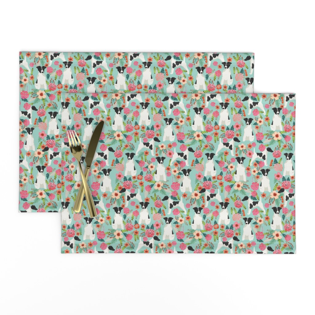 Lamona Cloth Placemats featuring smooth fox terrier black and white coat floral fabric mint by petfriendly