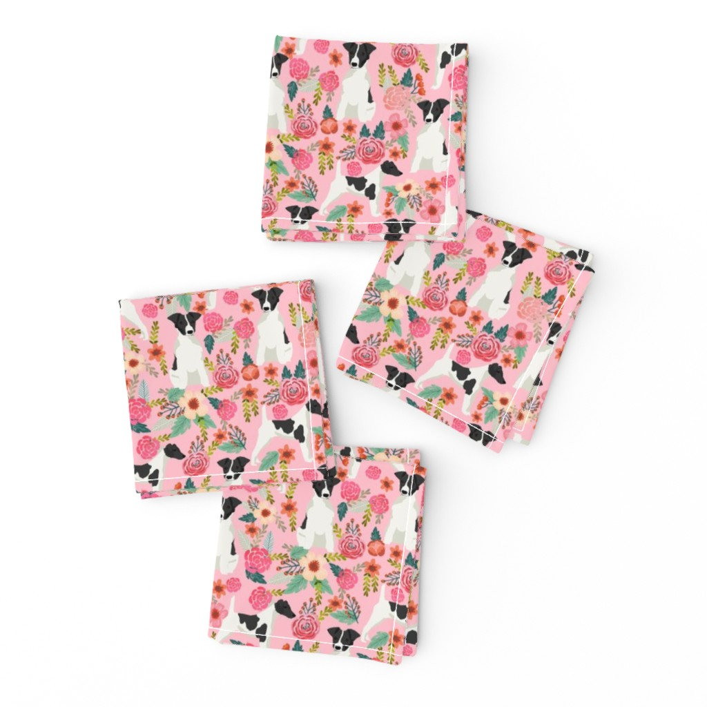 Frizzle Cocktail Napkins featuring smooth fox terrier black and white coat floral fabric pink by petfriendly