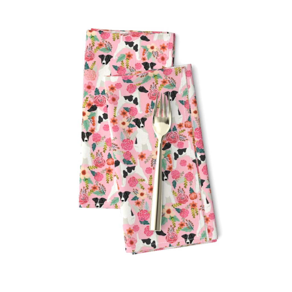 Amarela Dinner Napkins featuring smooth fox terrier black and white coat floral fabric pink by petfriendly