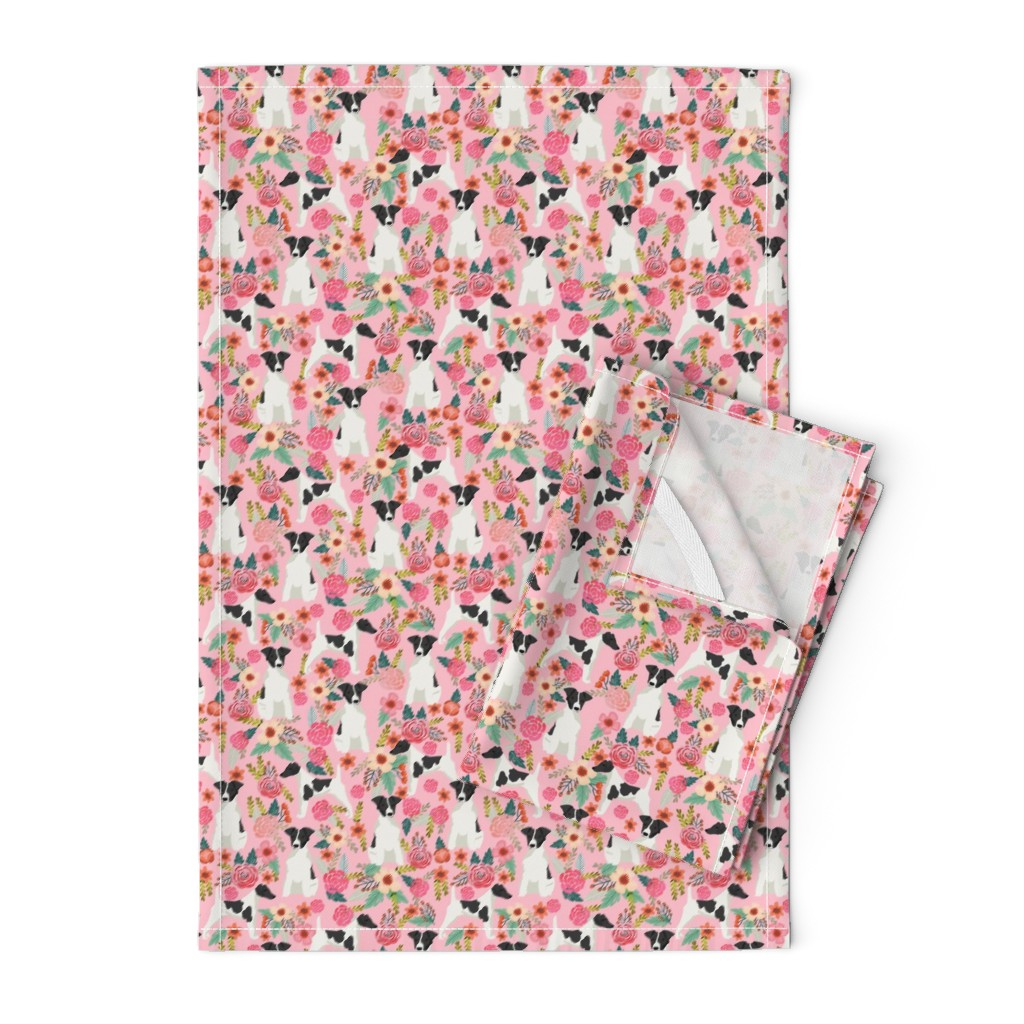 Orpington Tea Towels featuring smooth fox terrier black and white coat floral fabric pink by petfriendly