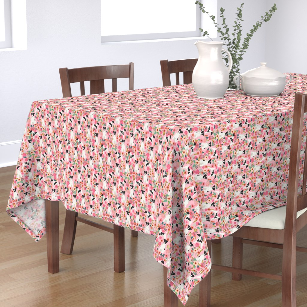 Bantam Rectangular Tablecloth featuring smooth fox terrier black and white coat floral fabric pink by petfriendly