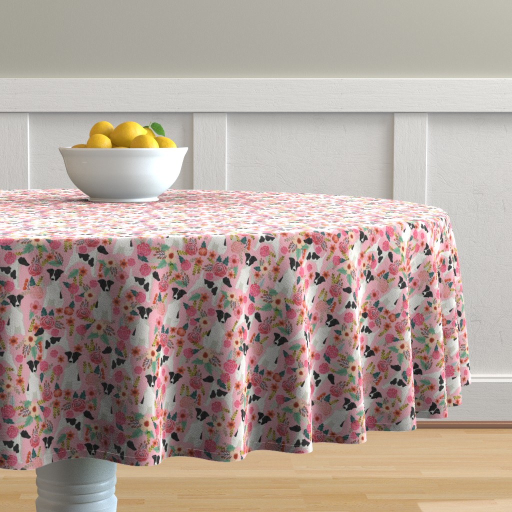 Malay Round Tablecloth featuring smooth fox terrier black and white coat floral fabric pink by petfriendly