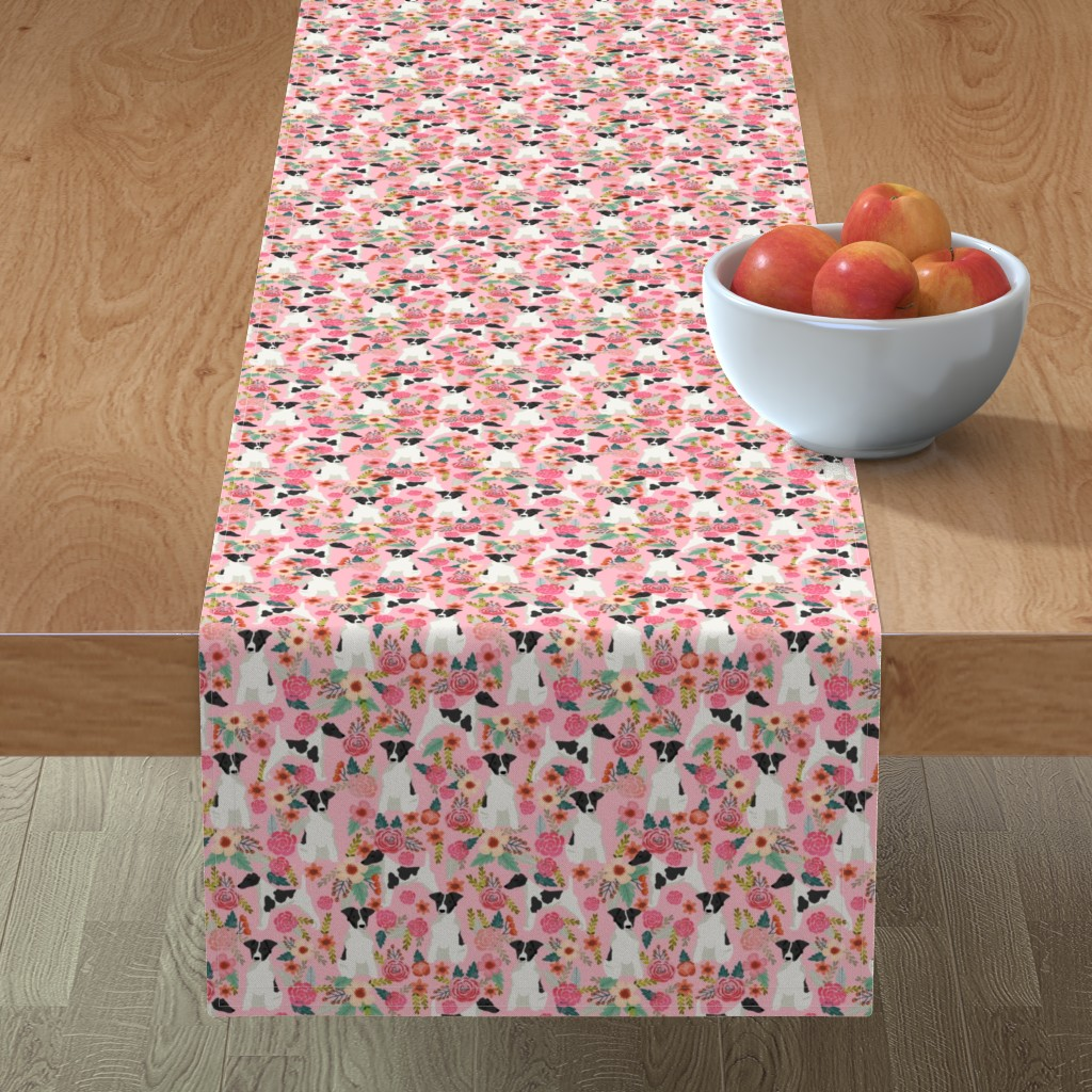 Minorca Table Runner featuring smooth fox terrier black and white coat floral fabric pink by petfriendly