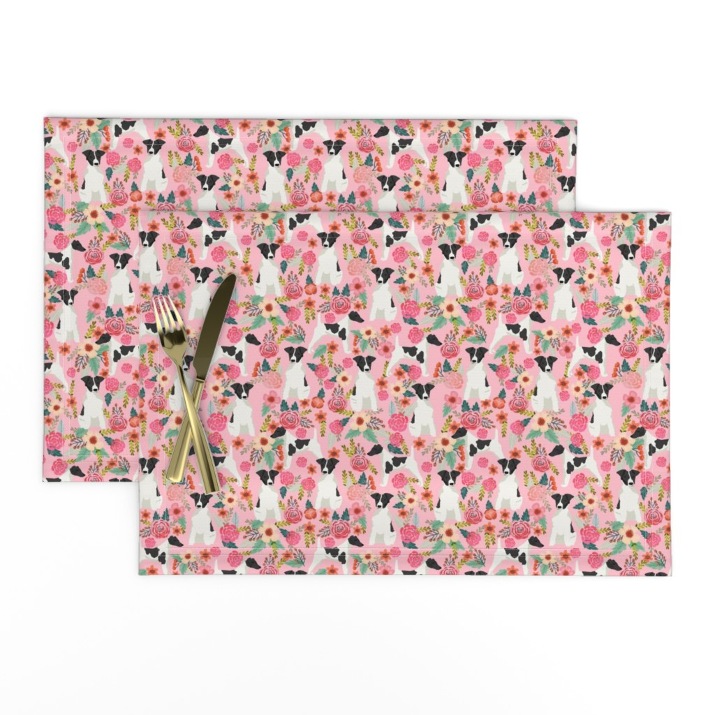 Lamona Cloth Placemats featuring smooth fox terrier black and white coat floral fabric pink by petfriendly
