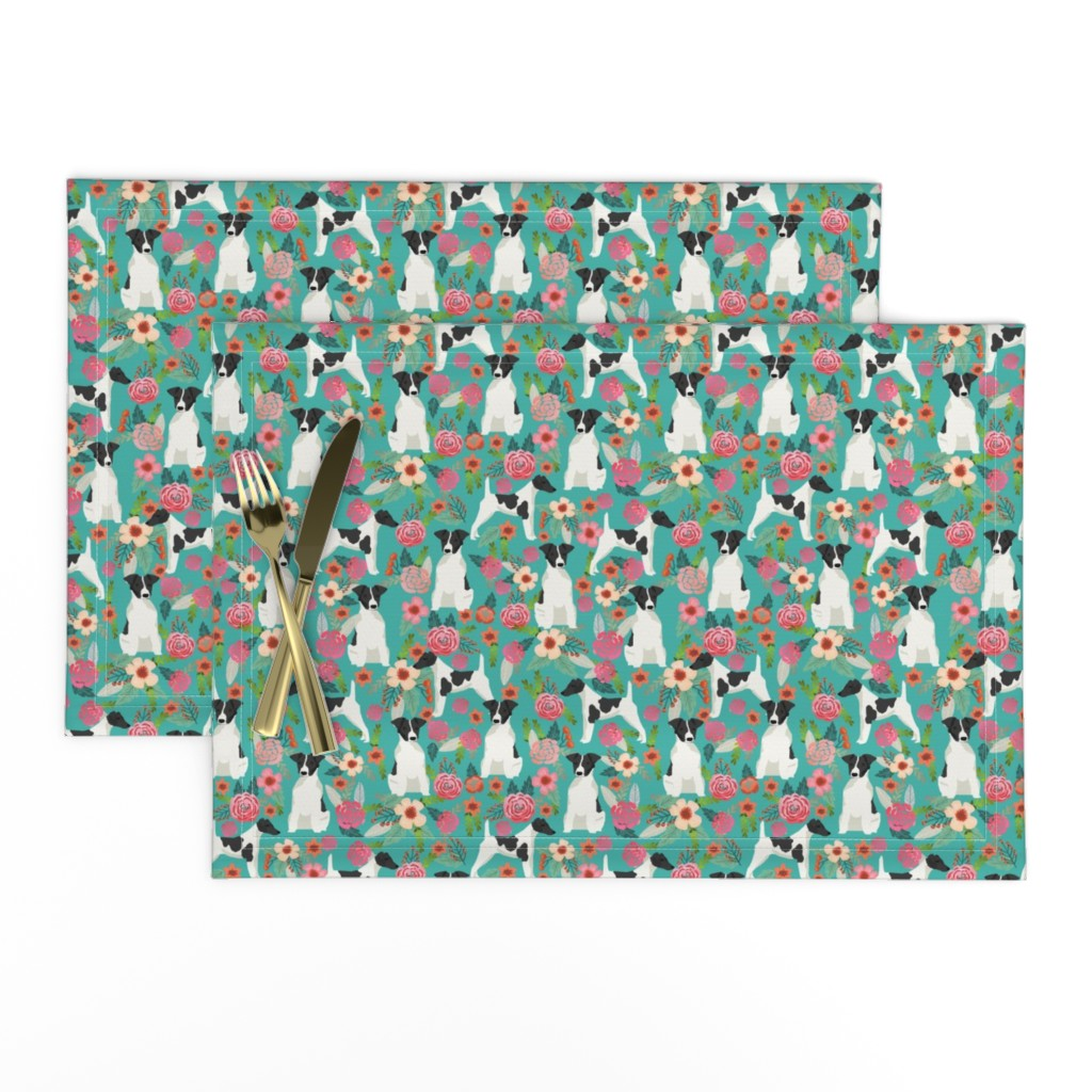 Lamona Cloth Placemats featuring smooth fox terrier black and white coat floral fabric turquoise by petfriendly