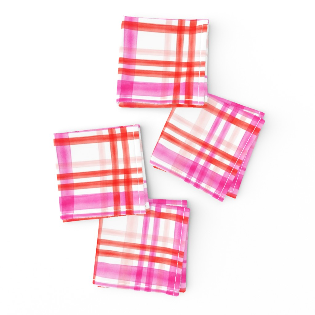 Frizzle Cocktail Napkins featuring valentines watercolor plaid by littlearrowdesign