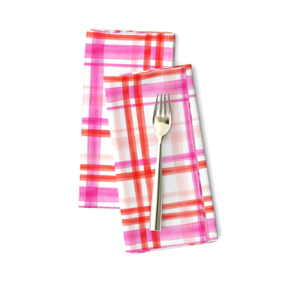 Amarela Dinner Napkins featuring valentines watercolor plaid by littlearrowdesign