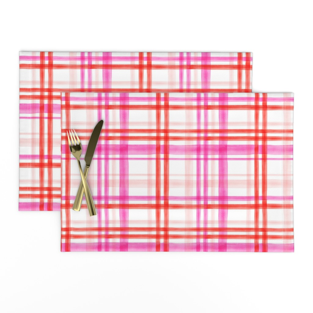 Lamona Cloth Placemats featuring valentines watercolor plaid by littlearrowdesign